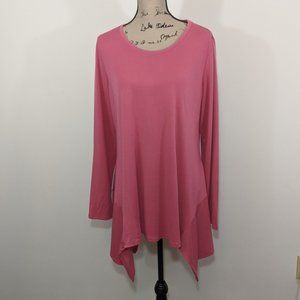 LOGO Layers Knit Top Bitehark Hem Pink Long Slv L